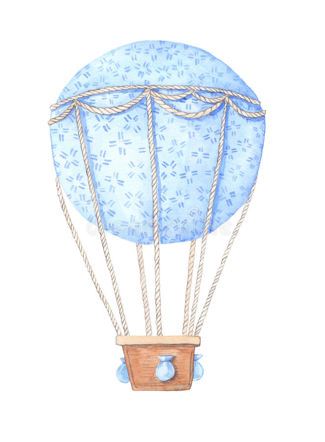 Hand drawn watercolor illustration - hot air balloon in the sky. royalty free illustration