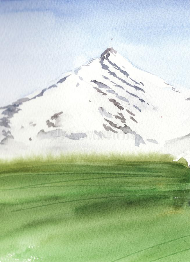 Watercolor  landscape with mountain and green meadow, minimalistic style vector illustration