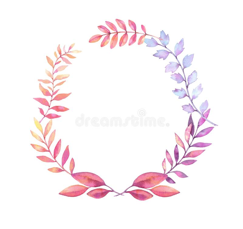 Hand drawn watercolor illustration. Laurel Wreath with leaves an royalty free illustration