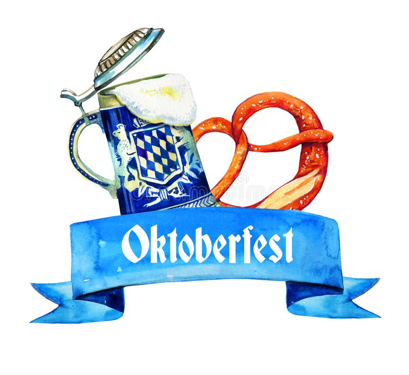 Hand drawn watercolor illustration for oktoberfest with bavarian beer ceramic mug and brezel. On white background royalty free illustration