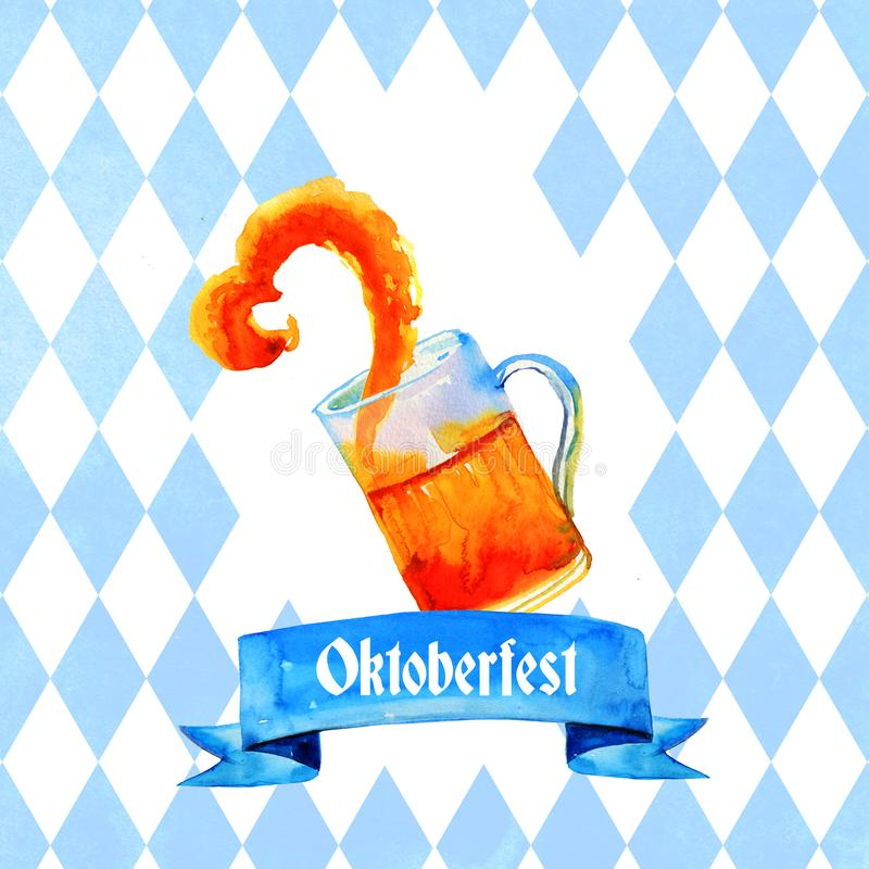 Hand drawn watercolor illustration for oktoberfest with glass beer mug with splash and title with bavarian flag. Hand drawn watercolor illustration for royalty free illustration