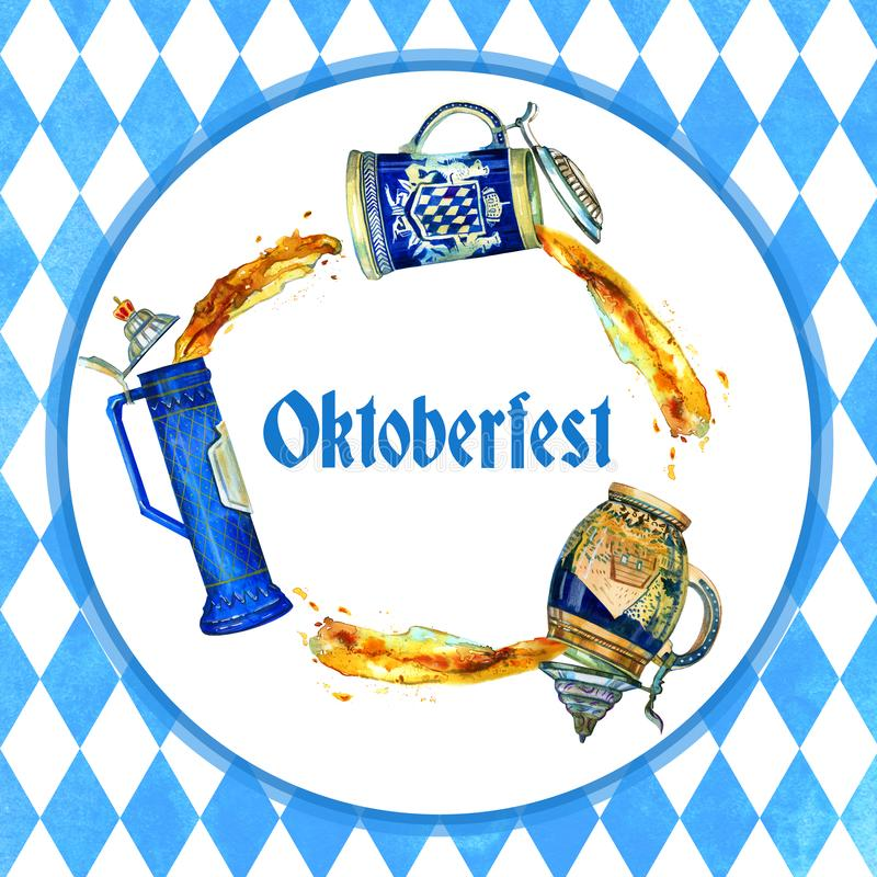 Hand drawn watercolor illustration for oktoberfest with three bavarian beer ceramic mugs in circle. And title vector illustration