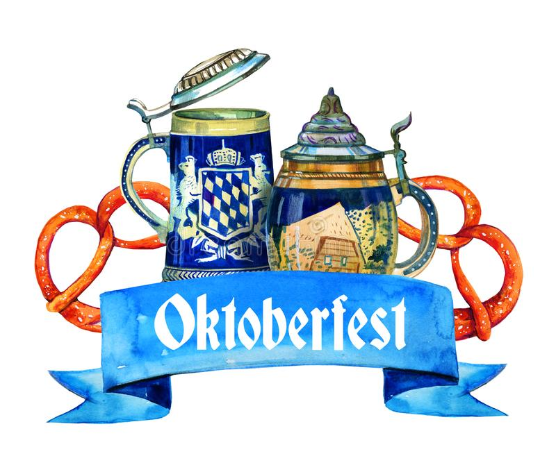 Hand drawn watercolor illustration for oktoberfest with two bavarian beer ceramic mugs and brezels. On white background royalty free illustration