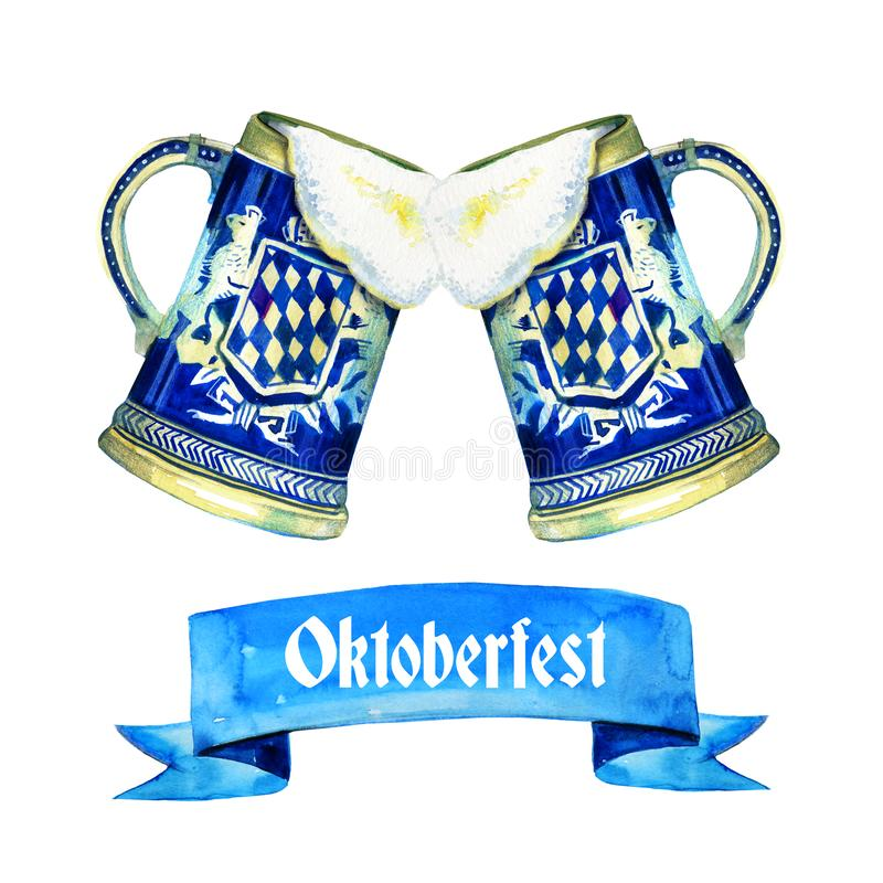 Hand drawn watercolor illustration for oktoberfest with two bavarian beer ceramic mugs. And title on white background royalty free illustration