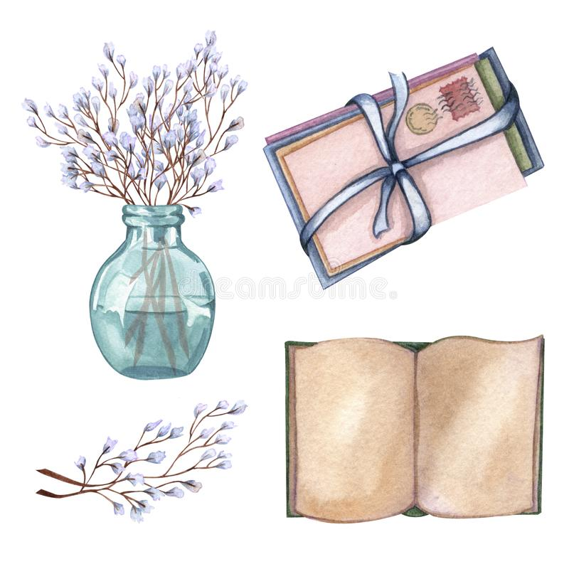 Hand Drawn watercolor illustration open book, floral twigs in a vase, letters vector illustration