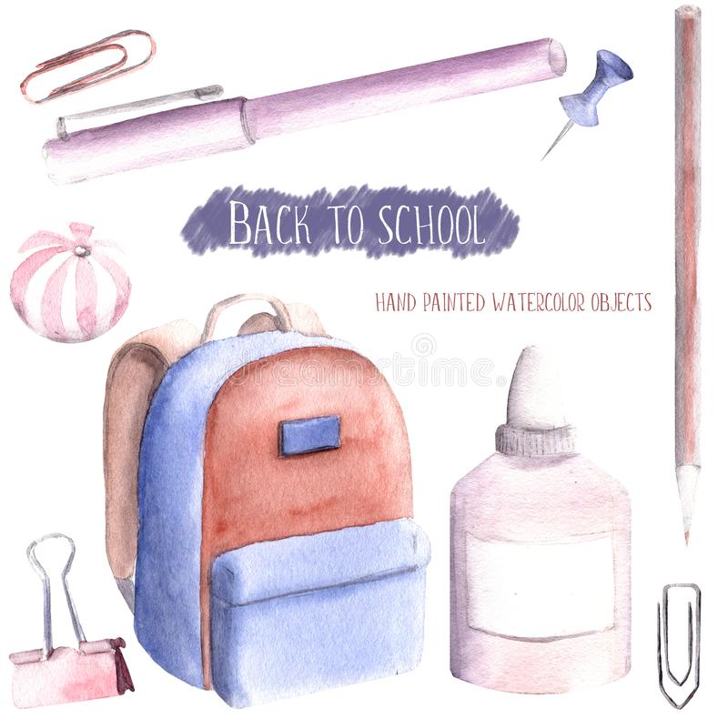 Hand drawn watercolor illustration painted set of objects isolated white background back to school supplies stationery pastel pin vector illustration