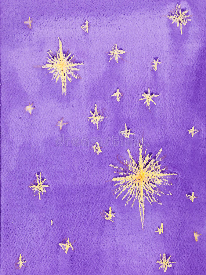 Hand drawn watercolor illustration of starry sky vector illustration