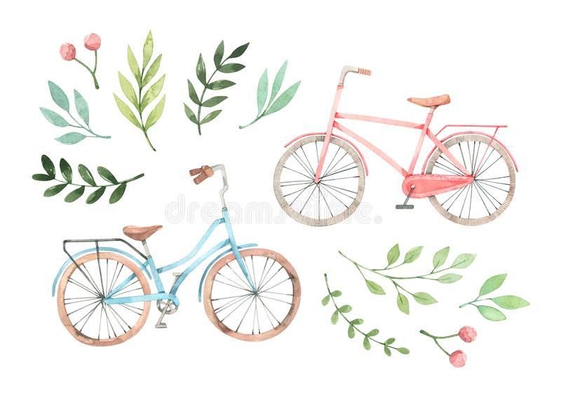 Hand drawn watercolor illustration - Romantic bike with floral elements. City bicycle. Amsterdam. Perfect for invitations,. Greeting cards, posters, prints stock illustration