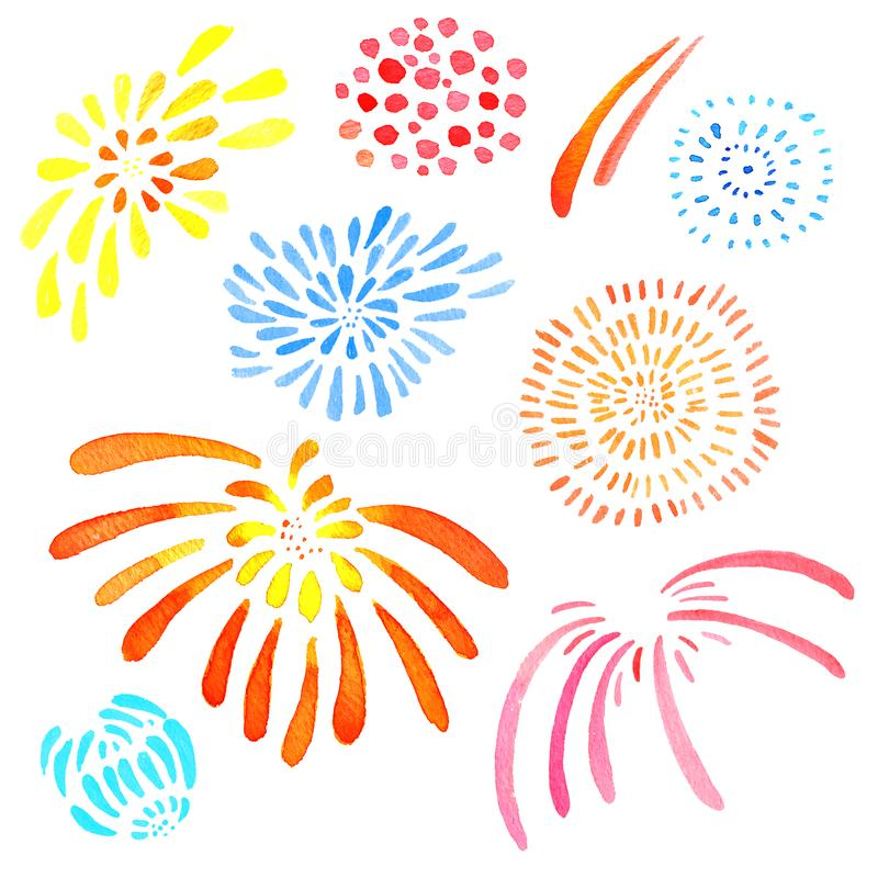 Hand drawn watercolor illustration set of isolated color stylized fireworks stock illustration