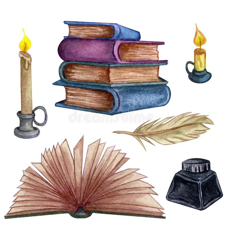 Free Hand Drawn Watercolor Illustration. Set With A Pile Of Old Books, Ink Bottle, Open Book, Feathe And Candle Stock Images - 154716894