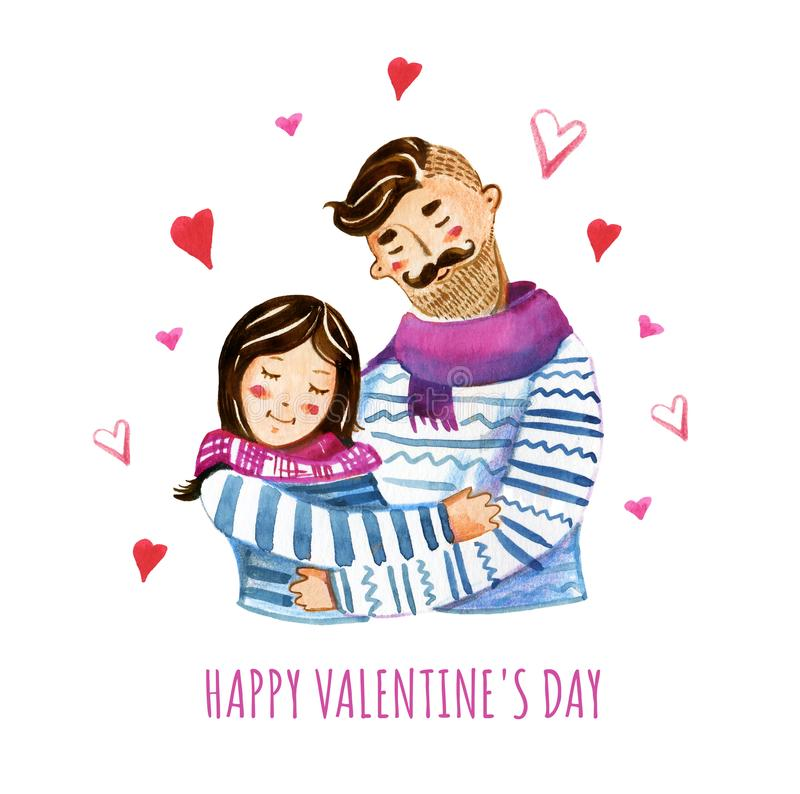 Hand drawn watercolor illustration of young couple and hearts vector illustration