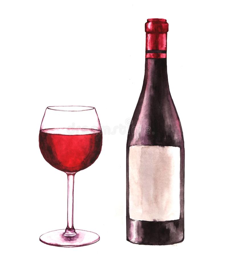 Hand-drawn watercolor illustration of the wine bottle and one glass of red wine royalty free stock photo