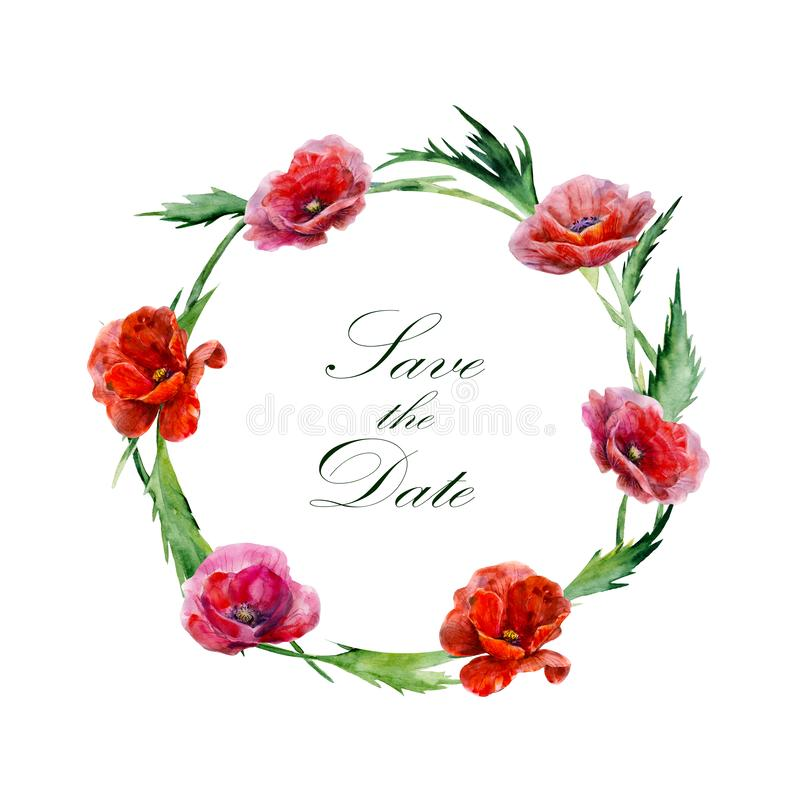 Hand drawn watercolor illustration. Wreath of red poppy flowers. Label with text in round frame. stock illustration