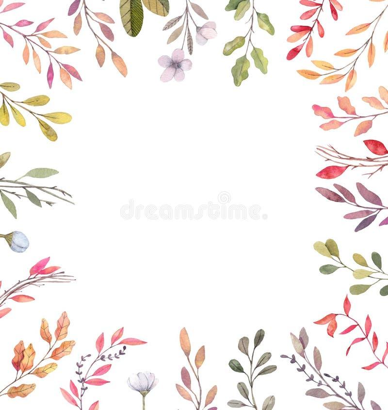 Hand drawn watercolor illustrations. Autumn Botanical border. Se stock illustration