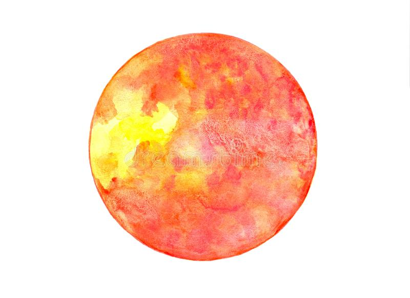 Watercolor isolated planet Mars. Multicolor abstract round background stock image