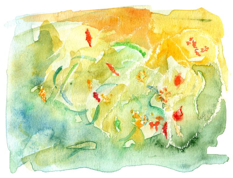 Hand Drawn Watercolor Lake Waters. From above. It`s mostly abstract but you can recognize autumn leaves and little fishes stock illustration