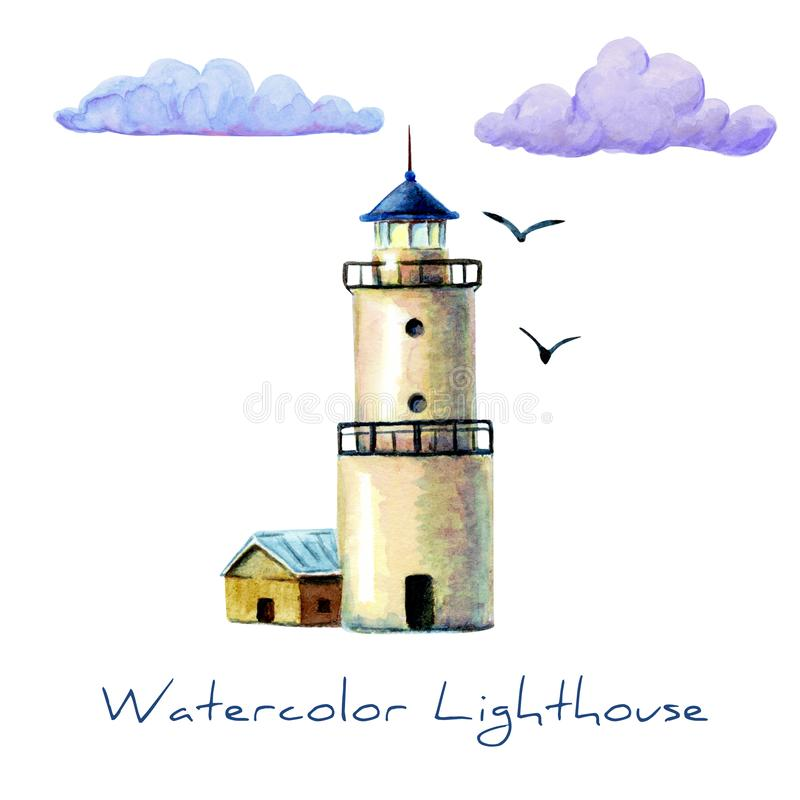 hand drawn watercolor lighthouse illustration. White lighthouse with gulls isolated. It's perfect for card, postcard, poster, stock illustration