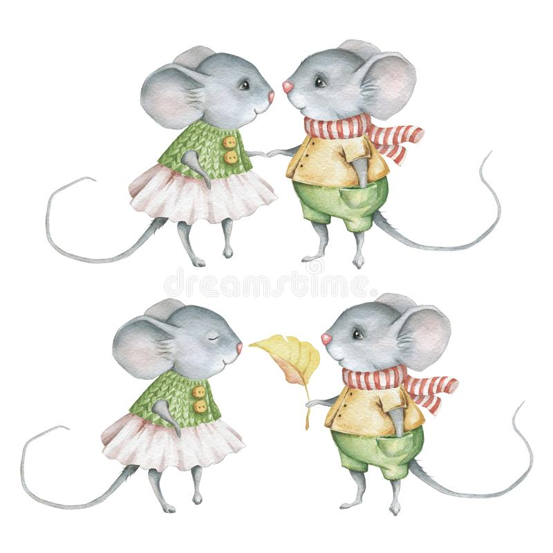 Watercolor Cute Little Mice Set vector illustration
