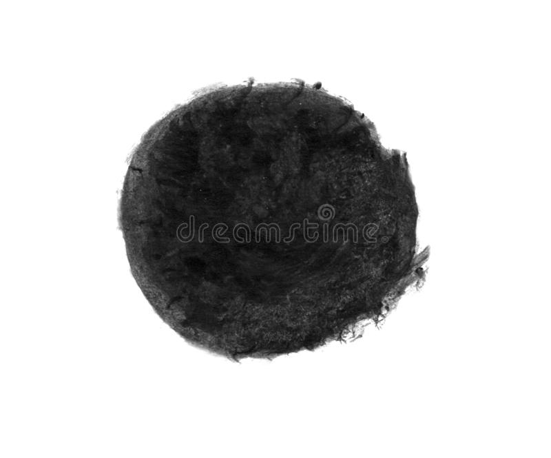 Hand drawn watercolor black circle as background royalty free stock photo