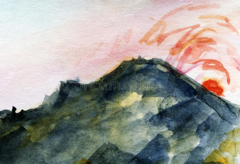 Hand Drawn Watercolor Mountain Sunrise Sea Shore. Rocky texture. royalty free stock image