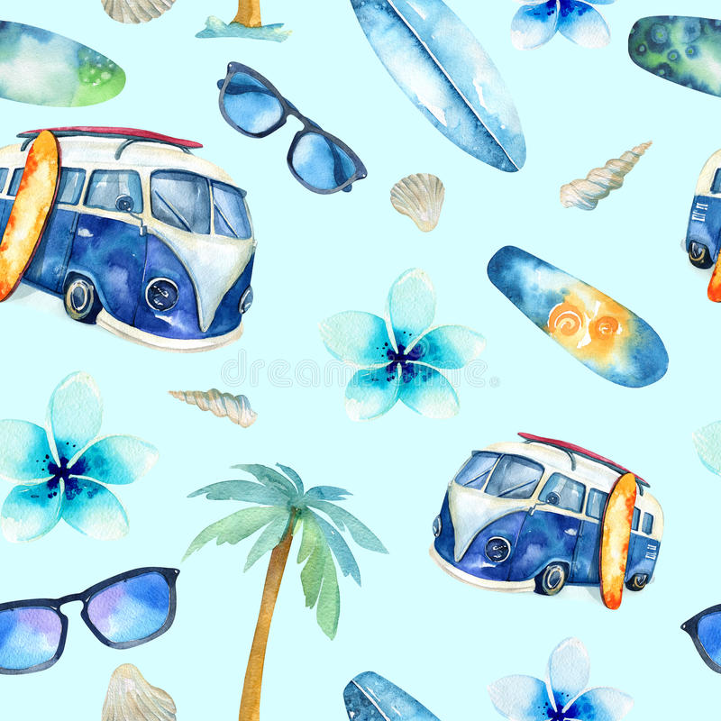 Hand drawn watercolor ocean surfing set. Beach holiday tropical royalty free stock image