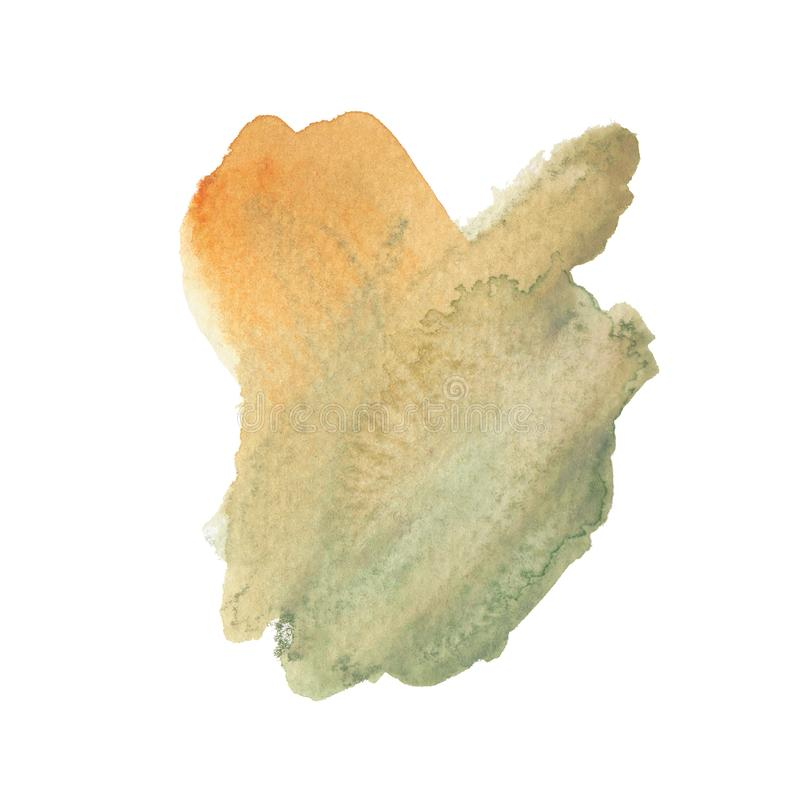 Hand drawn watercolor painted shape. Modern orange and olive green blending illustration. Multicolor ink brush strokes. Watercolor paint blobs and smudges stock illustration