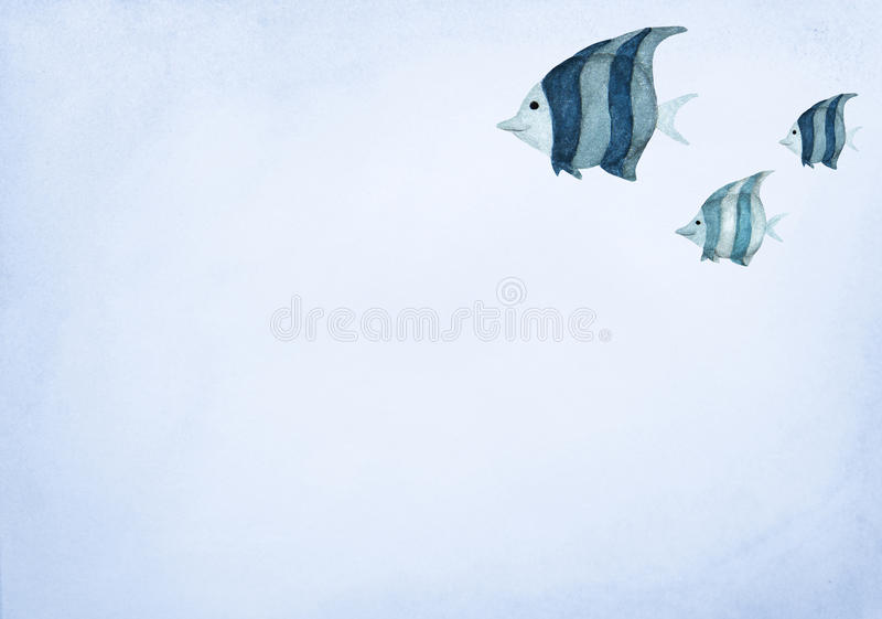 Hand drawn watercolor painting of fishes on blue background royalty free illustration