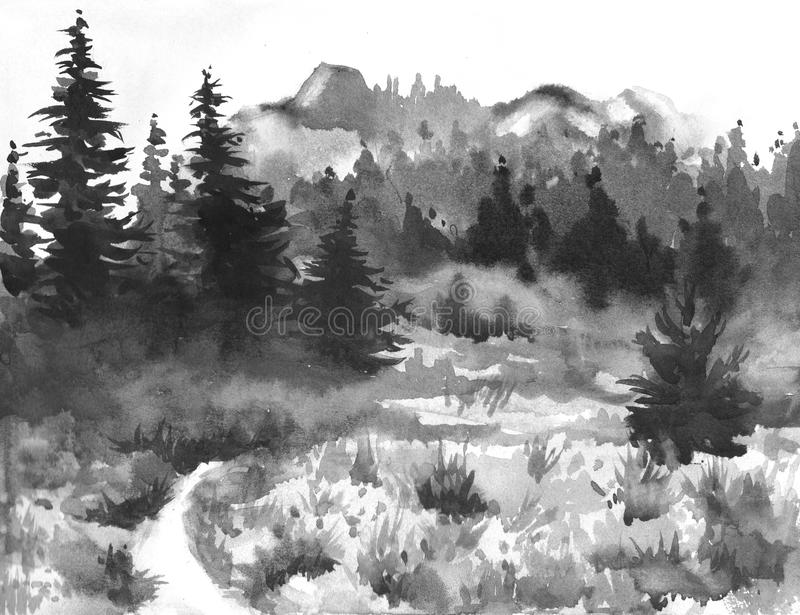 Hand Drawn Watercolor Painting of Forest Landscape. Taiga stock illustration