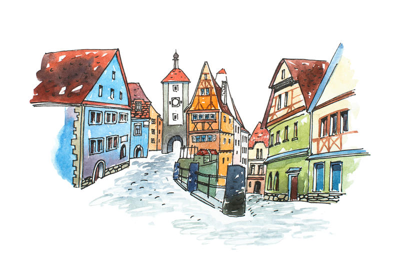 Hand drawn watercolor painting of old town in Germany. Romantic cityscape Bavarian Rothenburg ob der Tauber painted. Hand drawn watercolor painting of old town royalty free illustration