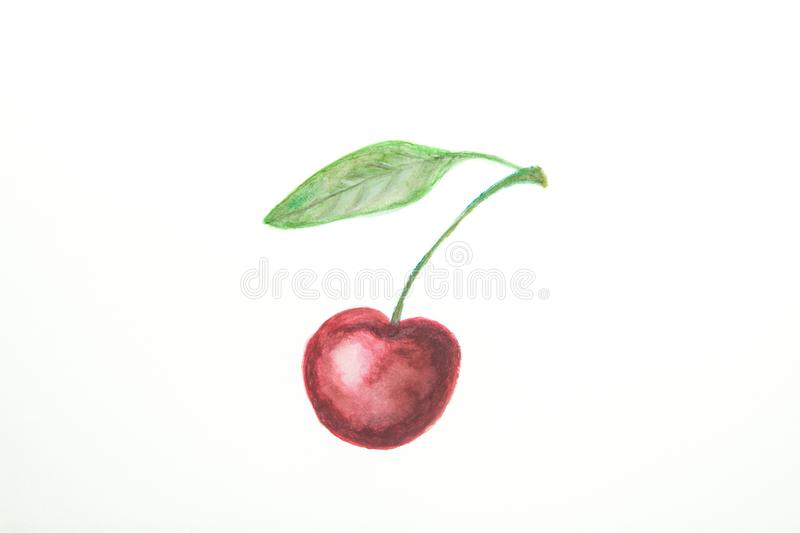 Hand Drawn Watercolor Painting of Ripe Juicy Single Sweet Cherry with Stem Green Leaf in Doodle Kids Style. White Paper Background stock photography