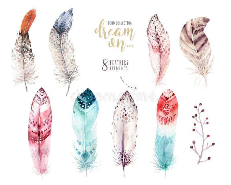 Hand drawn watercolor paintings vibrant feather set. Boho style wings. illustration isolated on white. Bird fly design vector illustration