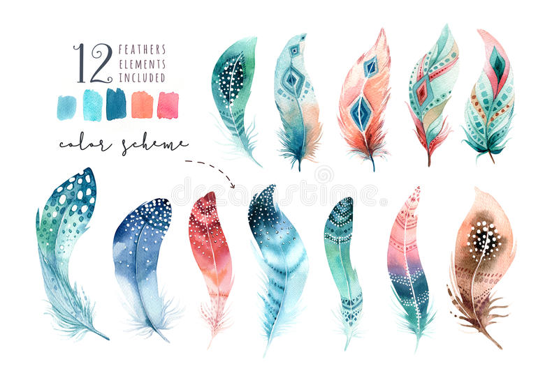 Hand drawn watercolor paintings vibrant feather set. Boho style vector illustration