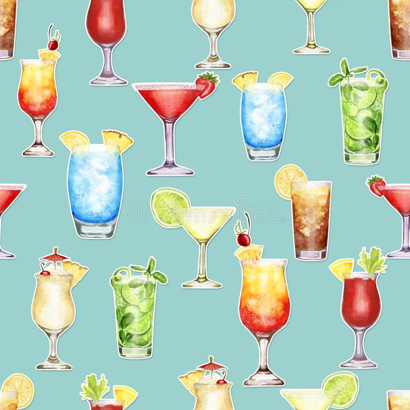 Hand drawn watercolor cocktail stickers seamless pattern on pale grey-blue background. Hand-drawn watercolor pattern with cocktail stickers blue lagoon, Pina vector illustration