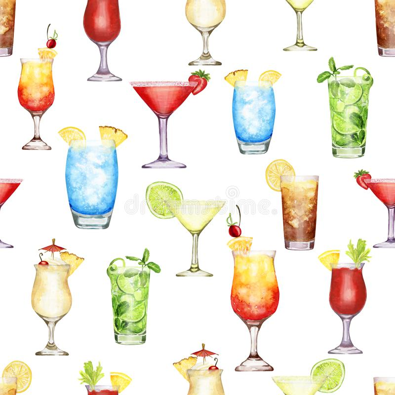 Hand drawn watercolor cocktail seamless pattern on white background. Hand-drawn watercolor pattern with cocktails blue lagoon, Pina colada, long island ice tea royalty free illustration