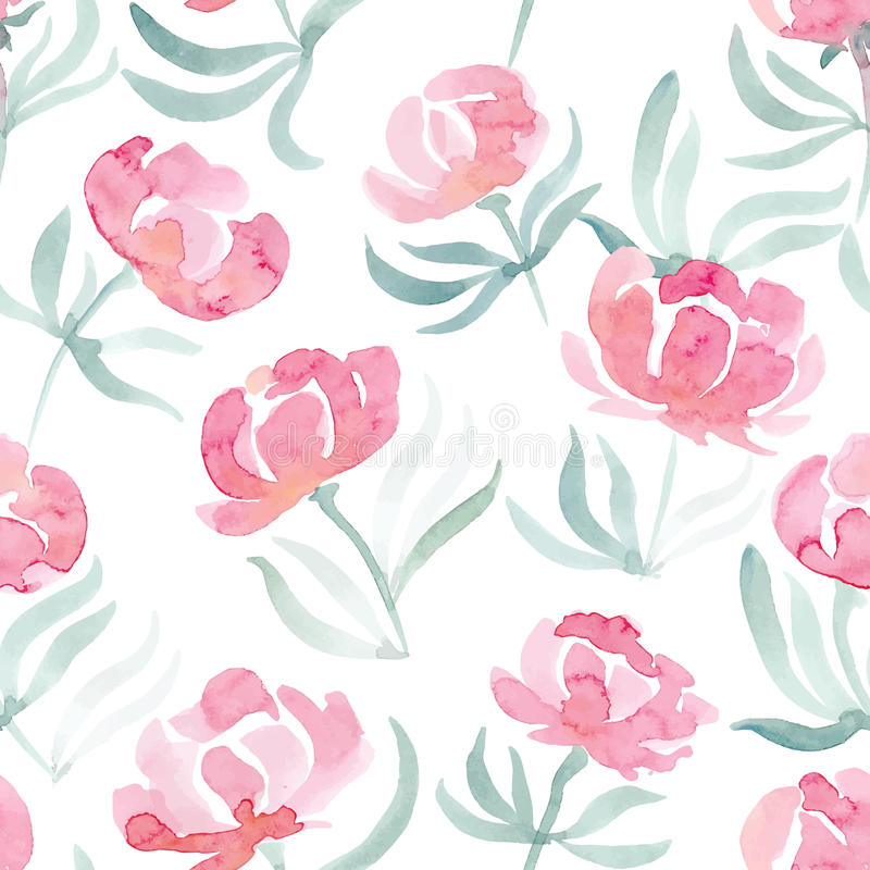 Hand drawn watercolor peonies seamless vector pattern vector illustration