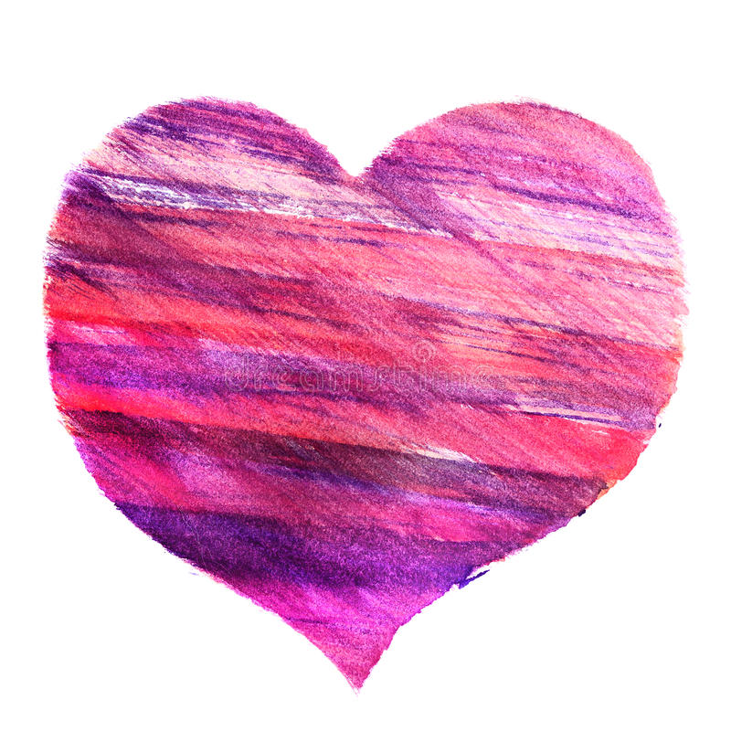 Hand drawn watercolor picture of a heart. royalty free stock photos