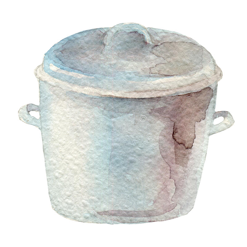 Hand drawn watercolor pot on white background. Kitchen tools series royalty free illustration