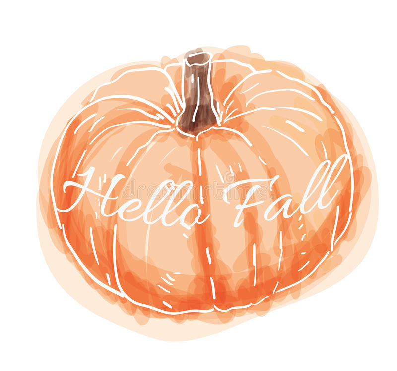 Hand Drawn Watercolor Pumpkin. Cute hand drawn watercolor pumpkin that says Hello Fall stock illustration