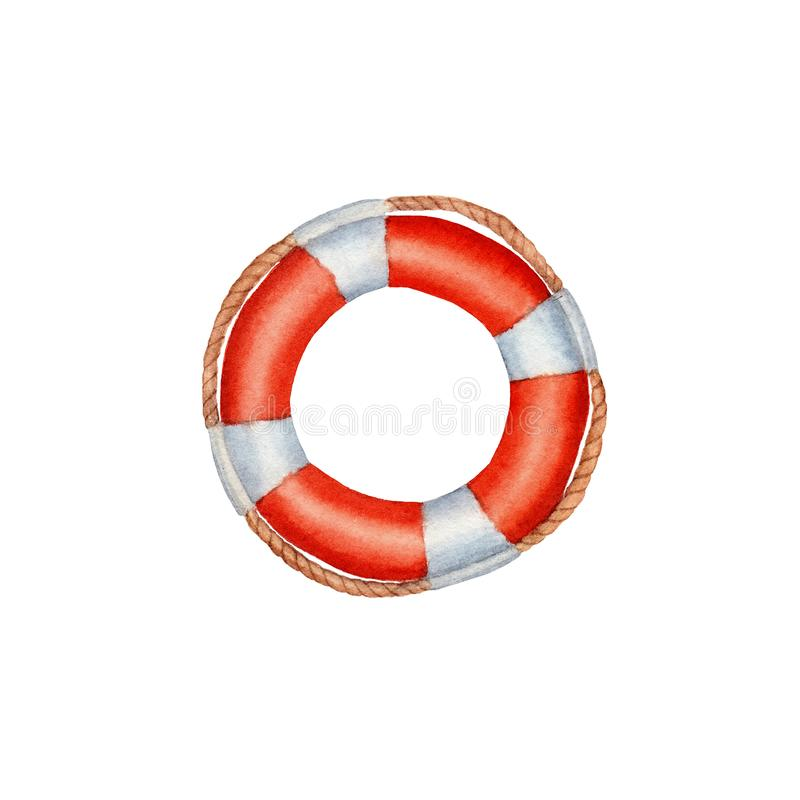 hand drawn watercolor Lifebuoy isolated royalty free illustration