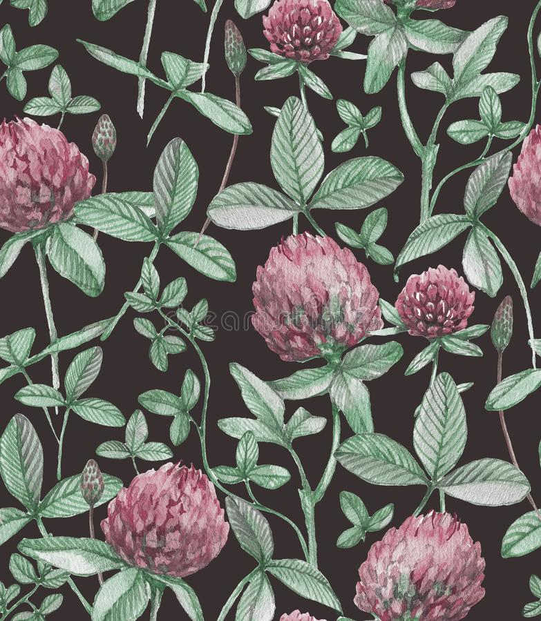 Hand-drawn watercolor seamless floral pattern with the pink clover flowers and leaves. Clover pattern. stock photography
