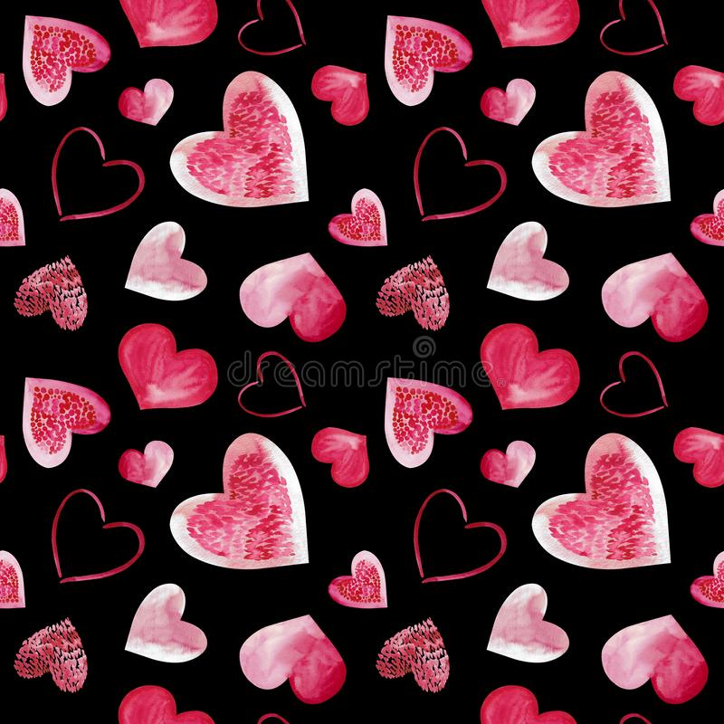 Watercolor illustration of pink love hearts background. Seamless pattern isolated on black background. stock images
