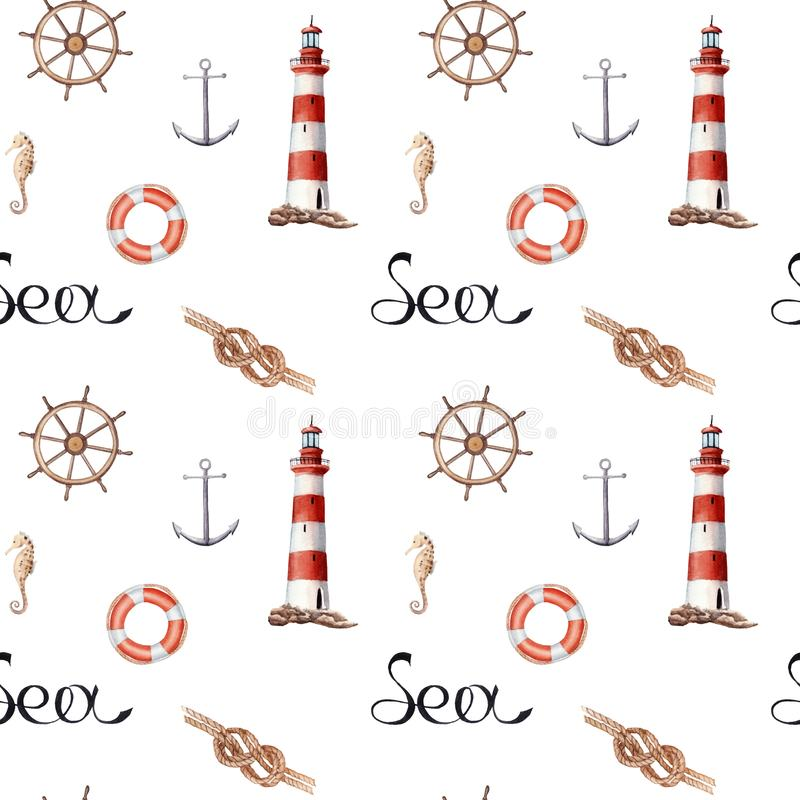 Hand drawn watercolor seamless patern with lighthouse and knot. On white background royalty free illustration