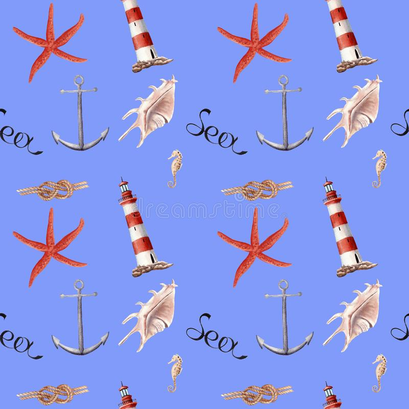 Hand drawn watercolor seamless patern with lighthouse, starfish and shells vector illustration