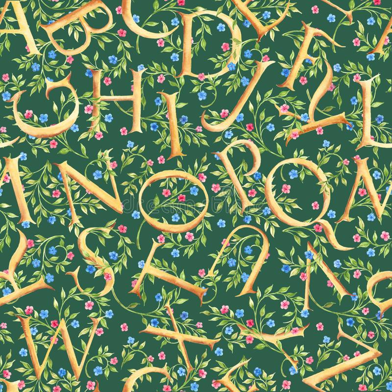 Hand drawn watercolor seamless pattern with alphabet and flowers. Green background. royalty free stock photos