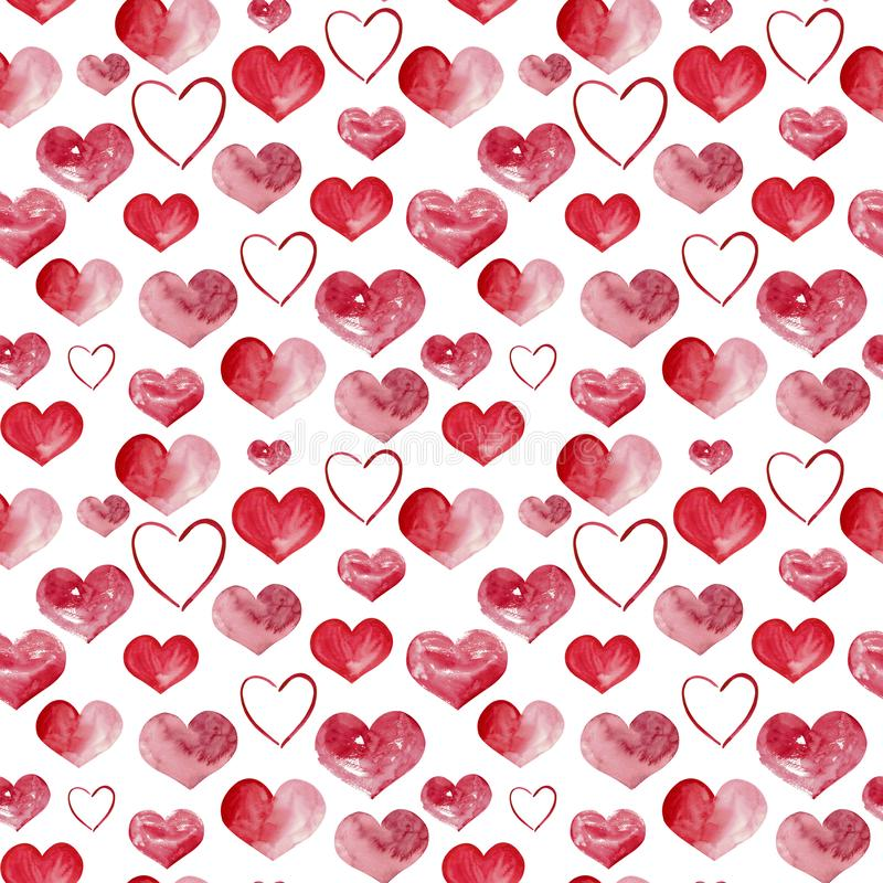Happy Valentines Day watercolor hearts background illustration. Seamless pattern. Hand-drawn watercolor seamless pattern for background stock image