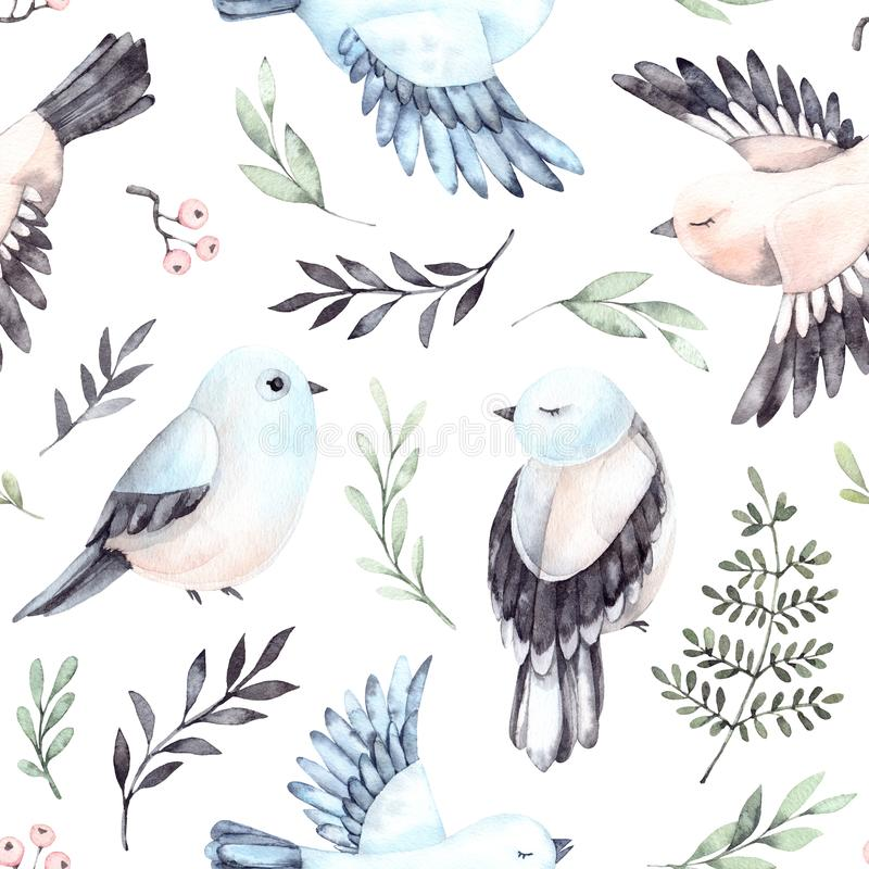Free Hand Drawn Watercolor Seamless Pattern. Background With Cute Spring Birds, Ferns And Green Branches. Perfect For Wrapping Royalty Free Stock Photos - 113602608