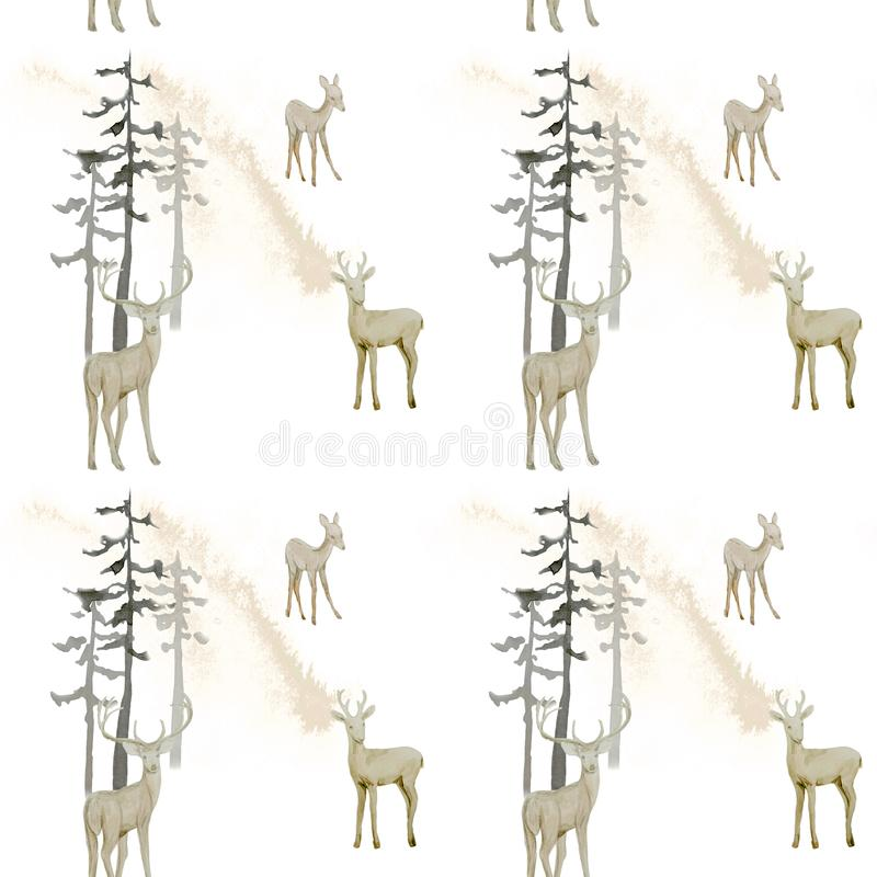 Hand drawn watercolor seamless pattern with deer. In forest royalty free illustration