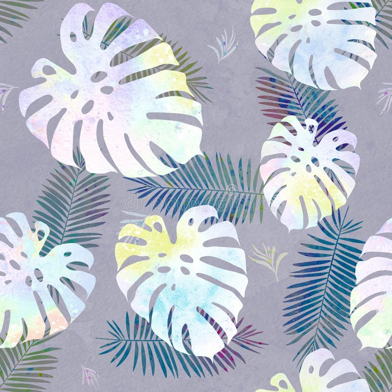 Hand drawn watercolor seamless pattern with different tropical leaves. Illustration for background, wallpaper, fabric, gift paper design, fabric, textile vector illustration