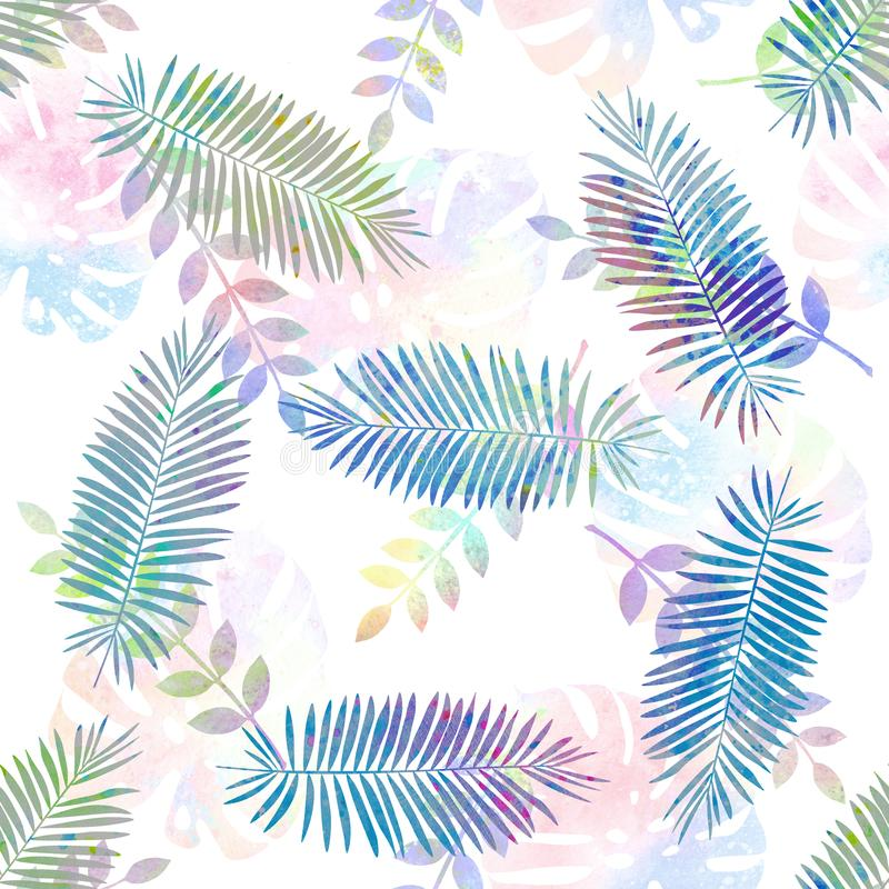 Hand drawn watercolor seamless pattern with different tropical leaves. For background, wallpaper, fabric, gift paper design, fabric, textile design, postal stock illustration