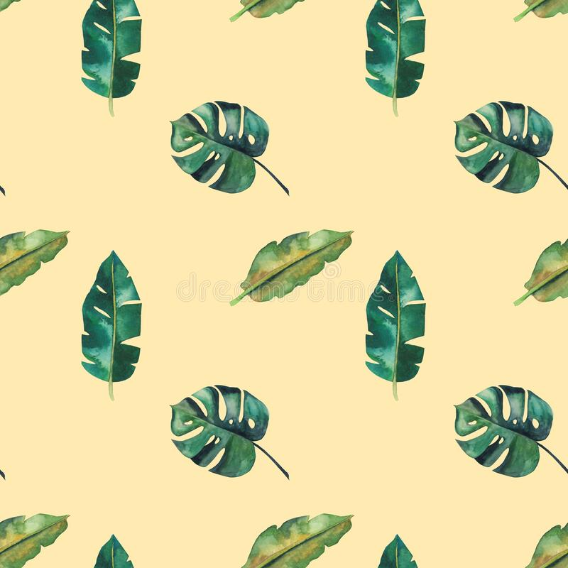 Hand-drawn watercolor seamless pattern. Green tropical leaves stock illustration